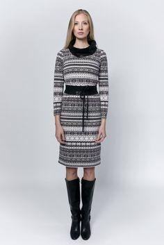 Dress with grey patterns, black cowl collar and waist belt