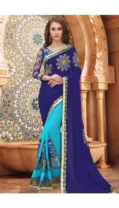 24db2b3ab6584 Decent Royal Blue Georgette And Lycra Saree With Dupion Blouse - DMV11563  Mehndi Dresses 2017