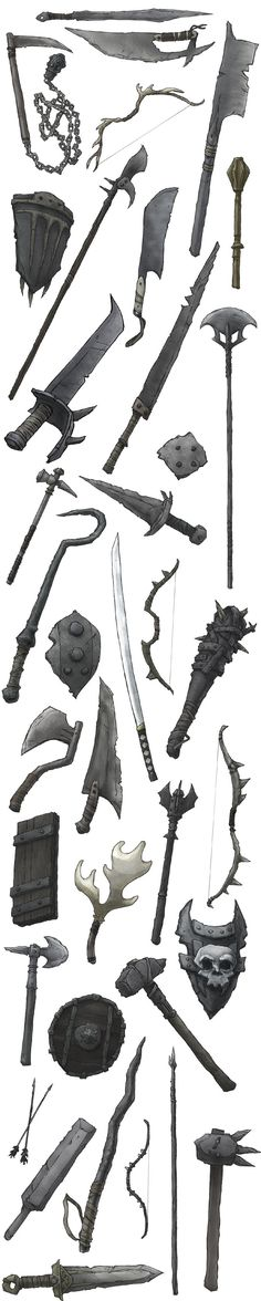 Some very orc-y looking weapons plus a katana for the weebs.