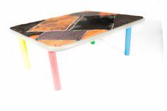 """""""quadro3"""" tavolino per interni materiali: legno e tessuto"""