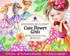 Girl Watercolor, Watercolor Paper Texture, Fairy Clipart, Leaf Clipart, Clipart Design, Collage Sheet, Design Elements, Flower Girls, Clip Art