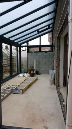 Der lang erwartete Boden… - Wintergarten Ideen The long-awaited floor… / Extension Veranda, House Extension Design, Garden Room Extensions, House Extensions, Aluminum Patio Awnings, Patio Enclosures, Balkon Design, Glass Roof, Glass House