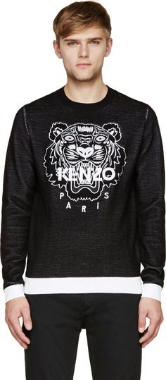 Kenzo: Black Embroidered Tiger Sweater | SSENSE