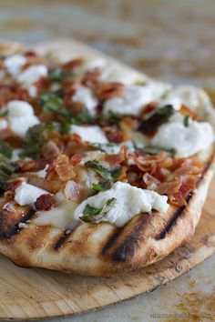 Grilled White Pizza with Bacon and Basil
