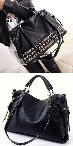Unique Rivets Women Leather Shoulder Bag Punk Square Rivet Handbag for big sale ! #punk #square #rivet #Handbag #rivet #black