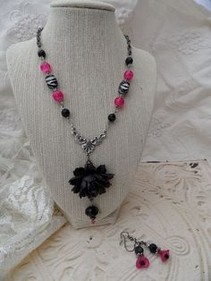 Wild Rose Necklace Set by thewhisperingseas on Etsy, $30.00