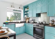Blue Kitchen Cabinets with Black Quartz Countertops - Contemporary - Kitchen - Benjamin Moore Florida Keys Blue Turquoise Kitchen Cabinets, Teal Cabinets, Kitchen Cabinet Design, Aqua Kitchen, Shaker Cabinets, Kitchen Cabinetry, Kitchen Designs, White Kitchen Floor, New Kitchen