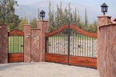Resultado de imagen para portones de fincas campestres Tor Design, Gate Design, Design Case, House Design, Design Design, Front Gates, Entrance Gates, Garden Retaining Wall, Outdoor Projects