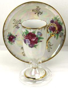 Vintage Pink Rose Bouquet Gold Lustre Footed Chocolate Teacup & Saucer Japan #weboys10