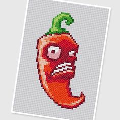 PDF Cross Stitch pattern // 0296.Jalapeno (Plants vs. Zombies) by PDFcrossstitch
