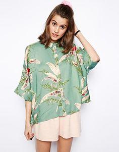 tropical print kimono sleeve top