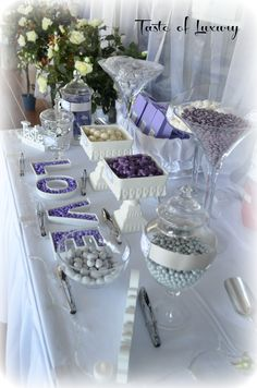 Purple, Silver White wedding lolly buffet - she is actually my friend in Yeppoon! She does amazing stuff. Wish she was here as she hires our her jars aswell. Anniversary Parties, Wedding Anniversary Gifts, Purple Candy Buffet, 21st Bday Ideas, Cake Table Birthday, Purple And Silver Wedding, Sweet Buffet, Bar A Bonbon, Lolly Buffet