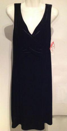NWT Robbie Bee $40 Black Velvet Cocktail Dress Size 10  $12.99