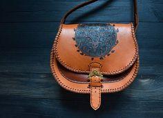 Brown leather bag Deer  #celtic #leather #leatherbag #crossbody #deer #casualbag  #mythology #bag