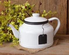 Primitive Vintage Country White Teapot with Chalkboard On Side Kitchen Cute
