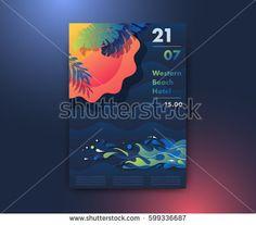 Sun, beach and sea poster design, summer party background, modern vector vertical A4 banner.