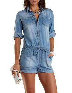 Button-Up Chambray Romper: Charlotte Russe #denim #romper