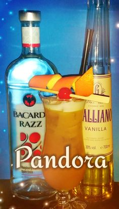 Pandora: 2 cl Bacardi Razz, 1 cl Galliano Vanilla Liqueur 2 cl mango syrup 15cl passion fruit juice