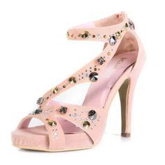 Kvoll Women's Open Toe Platform High Heels Suede Sandals with Rhinestones and Zipper,Pink new arrivals #queenfashion shoes