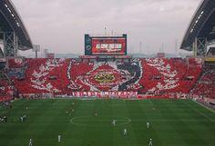 Urawa reds Choreography league match vs Sanfrecce Hirosima in saitama stadium 2002 Urawa Red Diamonds, Urawa Reds, J League, Football Stadiums, Saitama, Hiroshima, Baseball Field