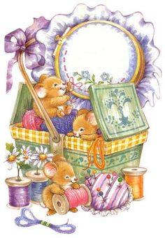 Mice and sewing basket