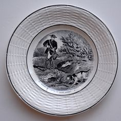 French Country Black Toile Transferware Plate Hunt Scene Rabbit Hare Chasse Au Lievre Au Chien D'arret