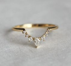 Diamond Nesting Band in Solid Gold with Prong Set Round & Pear Stones, Curved Matching Wedding Ring Diamond Wedding Band Diamond Crown Ring Curved by MinimalVS Diamond Crown Ring, White Diamond Ring, Diamond Bands, White Diamonds, Oval Diamond, Diamond Jewelry, Vintage Diamond, Teardrop Diamond Ring, Small Diamond Rings