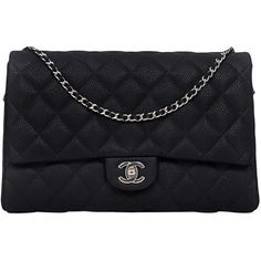 Pre-Owned Chanel Matte Black New Clutch Classic Quilted Caviar Flap... (4,896,150 KRW) ❤ liked on Polyvore