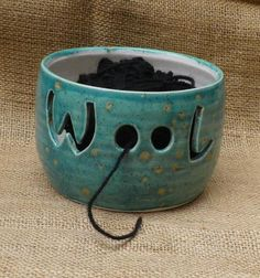 Yarn bowl knitting or crochet wool hand thrown pottery ceramic.