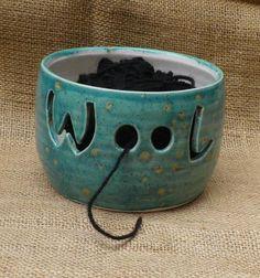 Yarn bowl knitting or crochet wool hand thrown pottery ceramic.