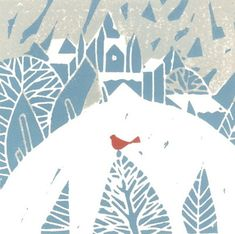 Snow Bird Print Linocut Original Hand Pulled by TheBluebirdGallery, £30.00