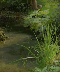 Wilhelm Zimmer (German, 1853-1937), Am Bach [By the stream], 1872. OIl on paper, 28.6 x 23.5cm.