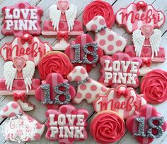 """304 Likes, 17 Comments - Anna Parnell (@cookieoccasions_) on Instagram: """"Victoria's Secret Set for an 18th Birthday  #decoratedcookies #cookieoccasions #customcookies…"""""""