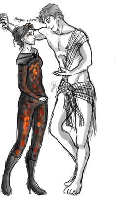 awesome fan art! Finnick and Katniss right before the start of the Tribute parade. catching fire.