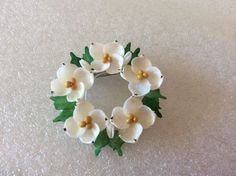 Vintage Miniature Sea Shell Floral Wreath Pin