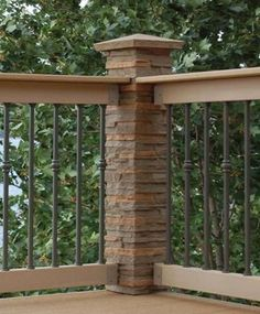 Dress up deck railings by adding faux stone post cover and cap. This would be a great project and could use many different ideas.