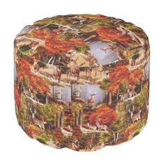 """Title : Cabin Lodge Forest Scene.JPG Pouf  Description : Rustic, """"Cabin-Lodge"""", Animals, Wildlife, """"Accent-Pillows"""", """"Log-Cabin"""", """"Hunting-Lodge"""", """"Fall-Season"""", """"Tribal-Borders-Animal-Prints"""", """"Black-Forest-Décor"""", Whimsical, Ikat, """"Faux-Leather-Prints"""", """"Native-American-Indian"""", Tribal, """"Animal-Prints"""", """"Western-Southwest-Prints"""", Traditional, Modern, Bohemian, """"Country-Cottage"""", Vintage, Kilim,  Product Description : <div>  Fabric: Grade A Woven Cotton    <div>    <p>Poufs are an easy…"""