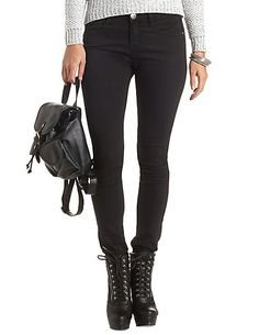 Low Rise Black Skinny Jeans #CharlotteRusse #CRfashionista #jeans