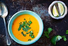 Thai Coconut Peanut Sweet Potato Soup- This was delicious! I added a couple of mini sweet peppers and tbsp extra curry paste, and I only used a little bit of jalapeño. Coconut Soup, Thai Coconut, Coconut Milk, Real Food Recipes, Soup Recipes, Vegan Recipes, Yummy Food, Recipies, Paleo Food