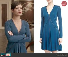 Anika's teal blue long sleeved dress on Empire.  Outfit Details: http://wornontv.net/46810/ #Empire