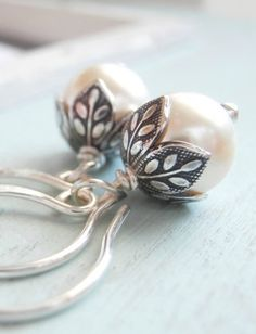 Cream Pearl Earrings and Sterling Silver....simply and elegant!