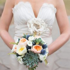 Garden Rose and Succulent Bridal Bouquet