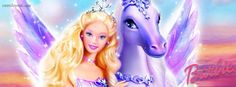 Princess Barbie and Flying Horse Facebook Cover CoverLayout.com