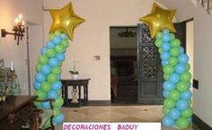 Balloon column decorations wedding blue green stars