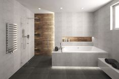 Jose: Maybe its nice to have the same tile inside as we have outside? Wc Bathroom, Wooden Bathroom, Family Bathroom, Bathroom Design Small, Small Master Bath, Bath Tiles, Bath Remodel, Bathroom Renovations, Bathroom Inspiration