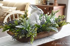 Easter/Spring Dough Bowl (Inspiration) - faux bushes of ruscus, lambs ear, berry, and lavender surround a ceramic white rabbit pair / via Oster Dekor, Spring Home Decor, Spring Decorations, Easter Table Decorations, Easter Crafts, Easter Ideas, Kids Crafts, Decorative Bowls, Decorating Ideas