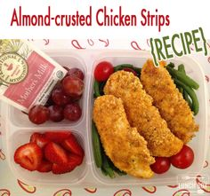Almond-crusted chicken strips {RECIPE}. Packed in @EasyLunchboxes