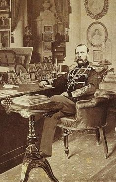 Alexander II (1818 – 1881) of Russia in his study room. Photograph by Levitsky, 1870s. #Russian #history #Romanov