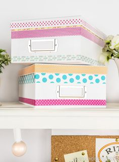 If you have a dorm-room filled to the brim with boring storage boxes, add washi tape to the edges to give them a chic upgrade! Masking Tape, Duct Tape, Craft Storage, Storage Boxes, Washi Tape Crafts, Dorm Room Organization, Decorative Tape, Fabric Tape, Idee Diy