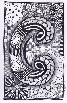 Letter C ZebrA Letters name bunting zentangle by ForeverTangles, £3.50